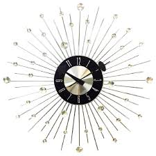 20 mid century modern bling crystal jewels wall clock