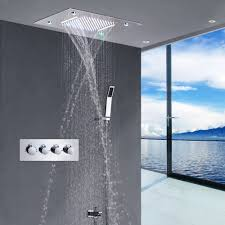Recessed Ceiling Rain Led Shower Kits 2 Function Color Led Rain Shower System With Waterfallrainfall Buy Luxury Shower Kitrain Shower Kitsshower