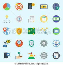 Icons Set About Marketing With Settings Pie Chart Target Pyramid Location And Growth