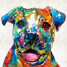 dog painting colorful dog pit bull art happy by sharon mings by sharon