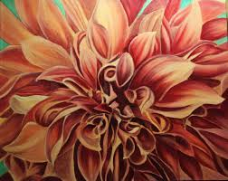 dalia flower painting in acrylic wip 9