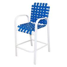 marco island white commercial grade aluminum vinyl cross strap outdoor bar stool in blue