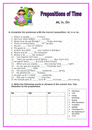 Worksheets with Prepositions Of Time   Homeshealth.info