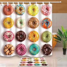 Colored <b>Donuts</b> Shower Curtain Modern Simple Style Bath Screens ...