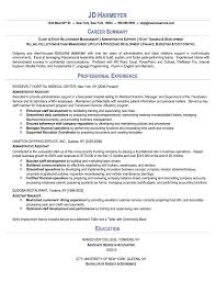 Administrative Assistant Sample Resume Career Summary With Professional  Experience ...