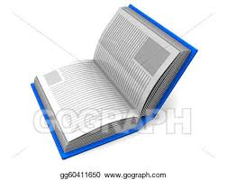 drawing 3d ilration of book with blue cover over white background clipart drawing gg60411650