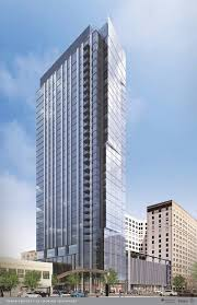 this is a rendering of the lumen at playhouse square a 34 story apartment
