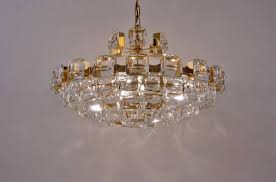 palwa chandelier gold plate 101 optical crystals 1970 s ca german