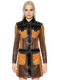 drome cropped studded leather biker jacket brown black women clothing