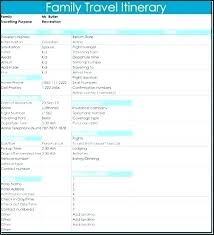 Vacation Itinerary Template Excel Templates Travel Awesome Free