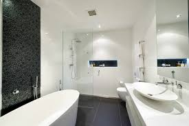 luxurious black and white bathroom interior idea feat modern freestanding tub with shower