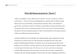 what did rousseau mean by liberty gcse sociology marked by  document image preview