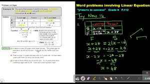 4 9 word problems involving linear equations chapter 4 part 9