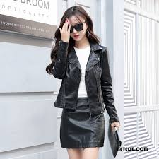 leather coat women casual leather jacket solid color long sleeves decoration autumn black gold