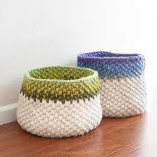 Free Crochet Basket Patterns Mesmerizing Color Block Crochet Basket Pattern One Dog Woof