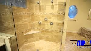 chic tile shower with accent tile and shower bench for neo angle shower with frameless door