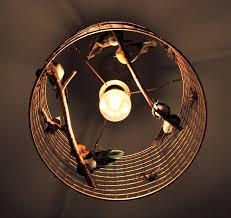 unique antique copper birdcage chandelier light shade with beautiful artificial birds