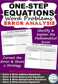one step equations word problems error ysis find the error