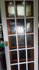 2 solid pine interior glazed doors 10 each