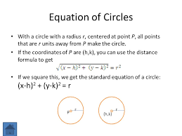 6 equation of circles with a circle with a radius r centered