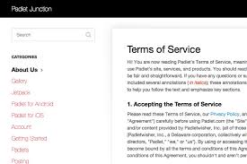 screenshot of padlet terms of service