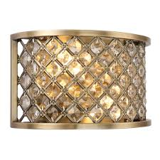 hudson antique brass and crystal glass bead wall light