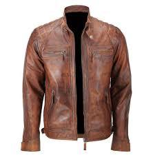 men s biker quilted vintage distressed motorcycle cafe racer leather jacket