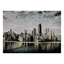 zoom photorealism jacquard wall décor panel chicago skyline