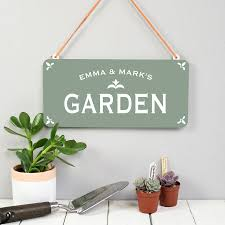 garden sign. Personalised Hanging Metal Garden Sign Fathers Day Gift For Gardener 2