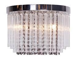 modern chrome crystal glass flush ceiling light fitting chandelier bhs carson