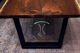 living edge lighting. Live Edge Walnut Dining Table With Solid 2x4 Black Steel Trapezoidal Legs. Features Book- Living Lighting