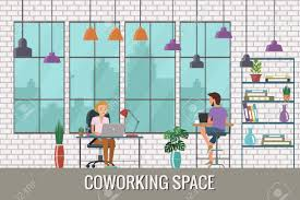 the creative office. Vector - Illustration Of Coworking Space. Working Place, Office. People In The Creative Flat Design. Office A