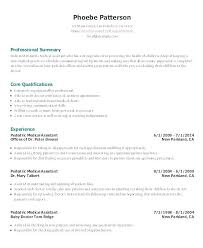 Resume Examples For Medical Assistant Stunning Medical Assistant Sample Resumes Technologist Resume Example