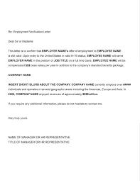 Template Employment Verification Letter Printable Sample Letter Of