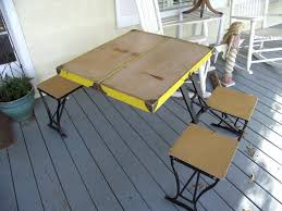 portable picnic table set for outdoor dining area ideas vintage folding table and chair set