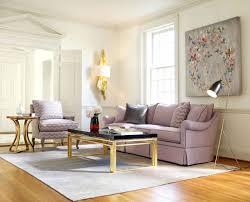 tan laminated flooring rectangle black glass gold stainles steel coffee table end side purple foam vinyl sloped arm cushion back modular sofa cone aluminium
