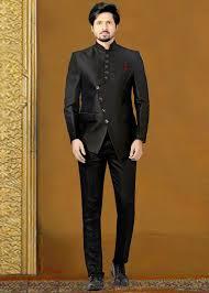 Jodhpuri Jackets Indian Designers Black Readymade Rayon Bandhgala Jodhpuri Suit