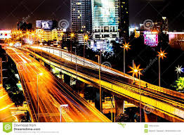 Building Focus Lights Colorful Of City Modern Buildings Night And Road Light