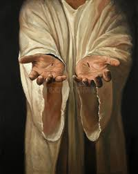 the hands of showing scars oil on linen painting