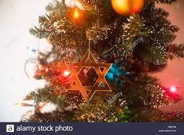 Christmas Lights Star Of David Jewish Star Of David On Christmas Tree Stock Photo 92819166