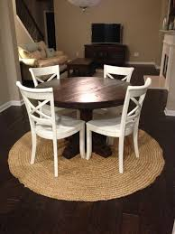 rustic round dining table. round rustic pedestal table- dark finish eclectic-dining-room dining table