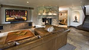 rustic basement design ideas. Rustic Basement Design Ideas With Leather Ottoman Sectional Sofa I