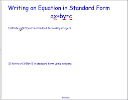 standard form linear equations jennarocca how to write an equation in standard form using integers