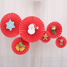 Red Paper Flower Christmas Decoration Tissue Paper Fan New Year Hanging Decoration Santa Claus Elk Gingerbread Man Paper Flower Qw8554 Handmade Christmas Ornaments