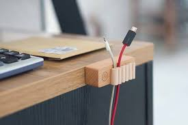 The Elegant Wood and Leather Desktop Cable Organizer