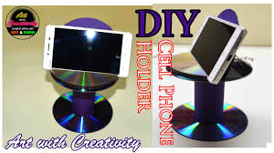 DIY Cell phone Holder   Best out of Waste   CD/DVD   Art with Creativity  156 - YouTube