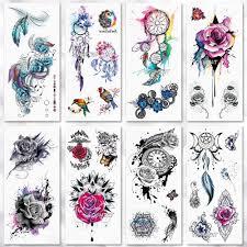 рисование роза геометрическая временная татуировка акварельное тату