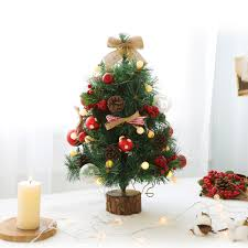 Mini Christmas Tree With Lights And Decorations Us 42 88 33 Off Pine Leaf Mini Christmas Tree And Ball Led Lights String Home Decoration Battery Operated Fairy Lights Indoor Street Garlands In