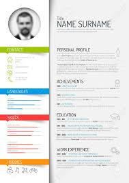 Resume Template Color Vector Minimalist Cv Resume Template Light Color Version Royalty 1