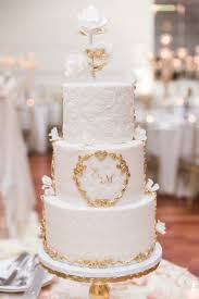 White And Gold Wedding Cake 3 Tier Wedding Cake Elegant Modern